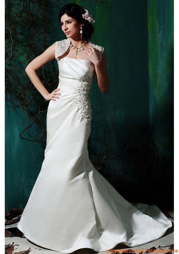 Robe moderne avec traîne 2013 broderies boléro robe de mariée satin