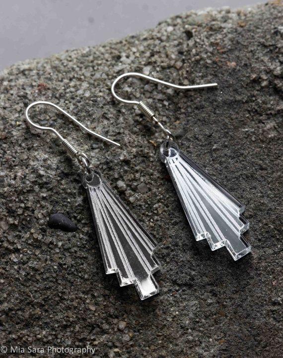 Silver mirror Art Deco laser cut earings by Deccoangel on Etsy