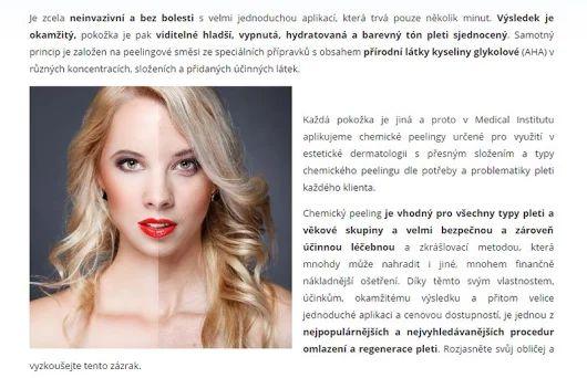 Chemický peeling >>> https://www.medicalinstitut.cz/esteticka-dermatologie/chemicky-peeling    Rychlé a účinné ošetření, které podporuje omlazení a regeneraci pokožky obličeje, krku, dekoltu a hřbetu rukou. Vhodné pro všechny, kteří očekávají rychlé zlepšení vzhledu pleti a zjemnění vrásek!
