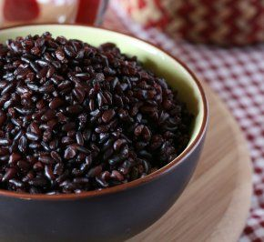 Black/Purple rice pudding-- super easy and super good for you! I love black rice. :)