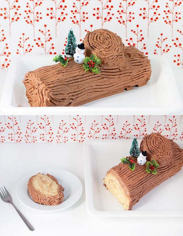 Yule Log or Bûche de Noël - a traditional Christmas French pastry