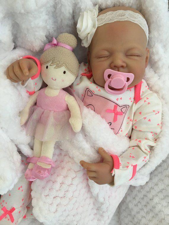 Reborn Baby Doll Girl Amber Big Newborn 22 Size Rooted Eyelashes