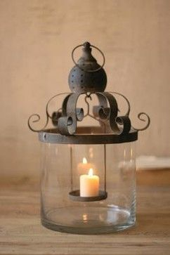 Glass Hurricane with Metal Scroll Top - mediterranean - candles and candle holders - Farmhouse Wares