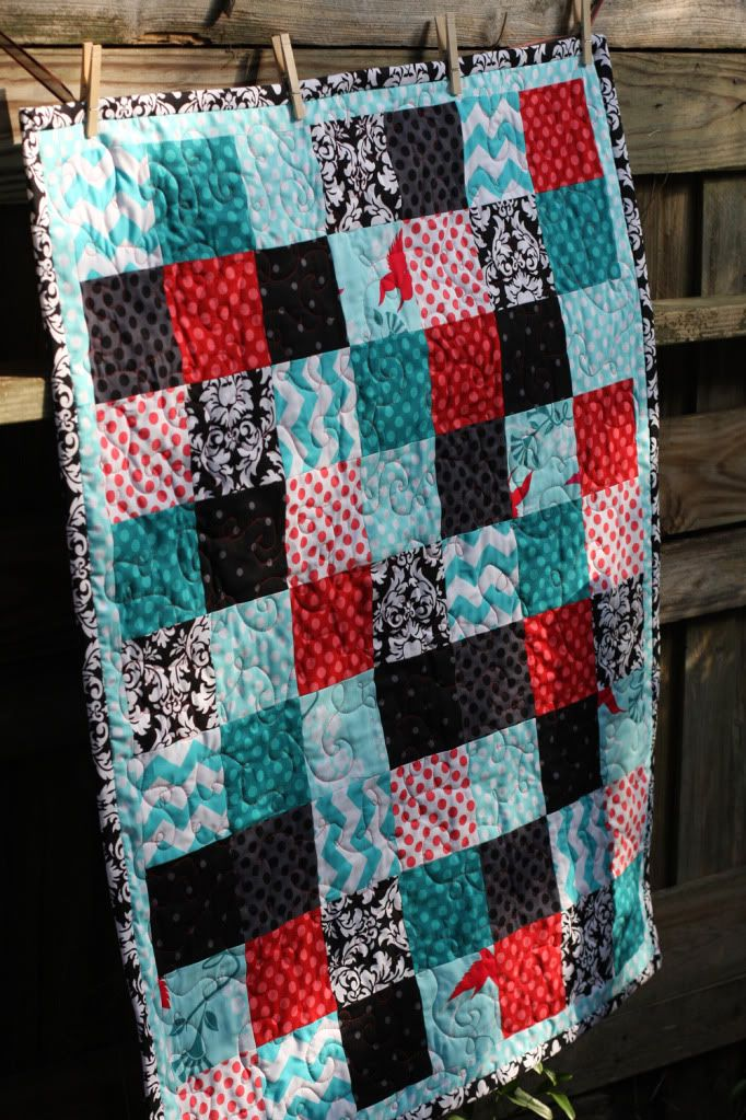 Great step by step tutorial on simple block quilt using fat-quarters - Lella Boutique