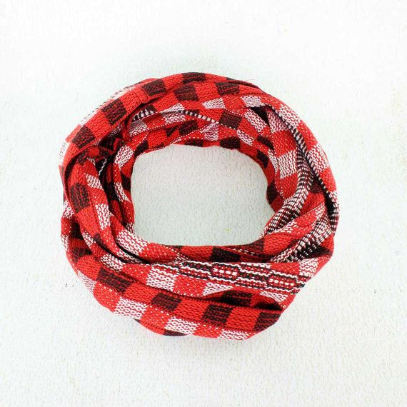 Red Plaid Scarf  Handwoven Red and White Scarf  Plaid