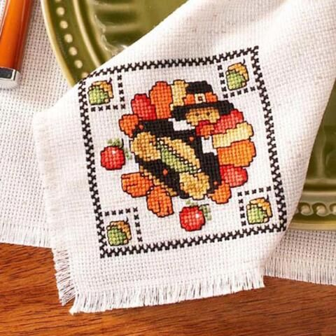 Dmc 174 Give Thanks Napkin Free Download Cross Stitch Patterns Cross Stitch Freebies