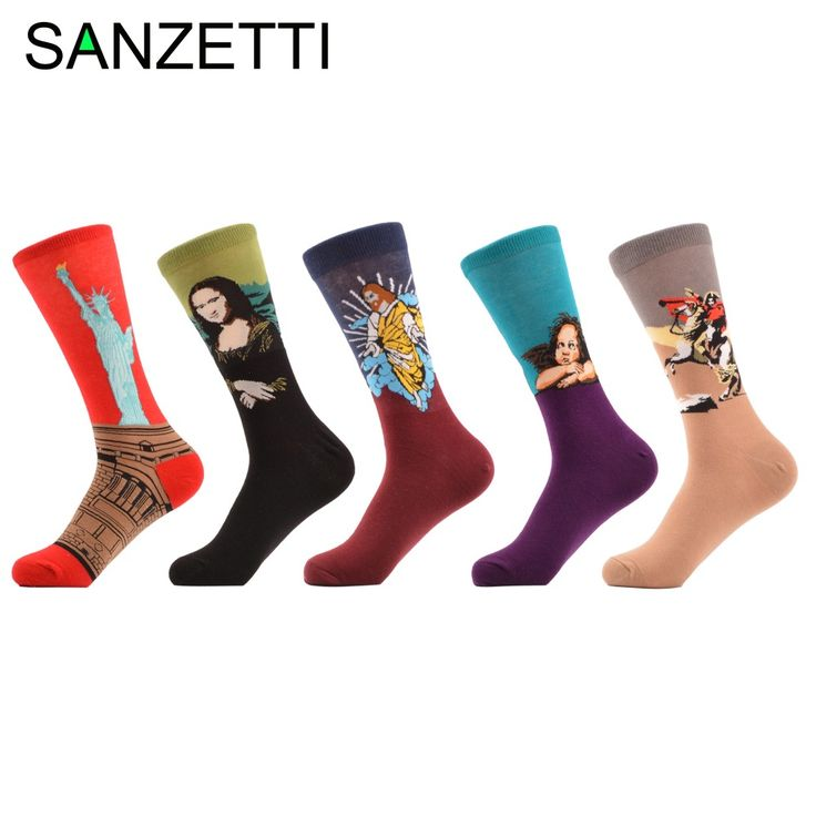 SANZETTI 5 pairs/lot Men's Colorful Combed Cotton Socks Fashion Gift Socks Winter Warm Funny Socks crew Novelty Gift for Men #Affiliate