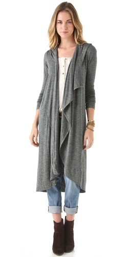 maxi cardigan. with a hood.
