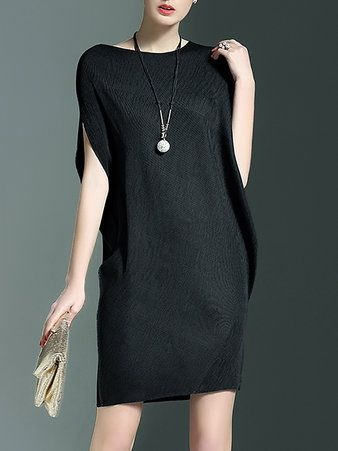 Black Crew Neck Casual Mini Dress
