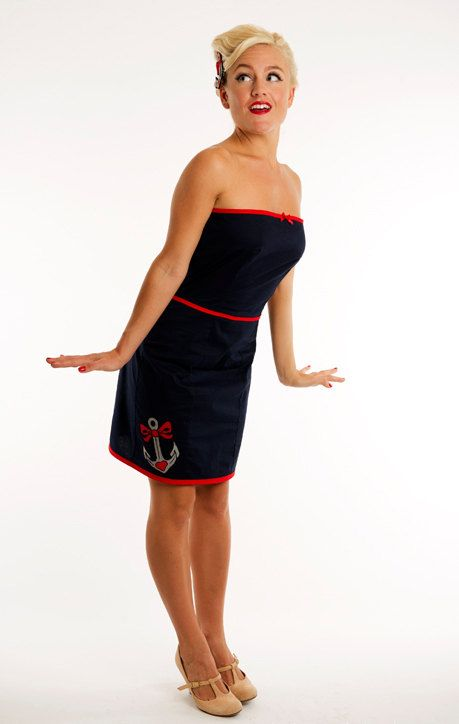 Navy Sailor Dress, Strapless Nautical Dress, Anchor Tattoo Dress,Sailor Dress, Pin Up Girl Dress,Strapless Pencil Dress UK Size 6-16/US2- 12