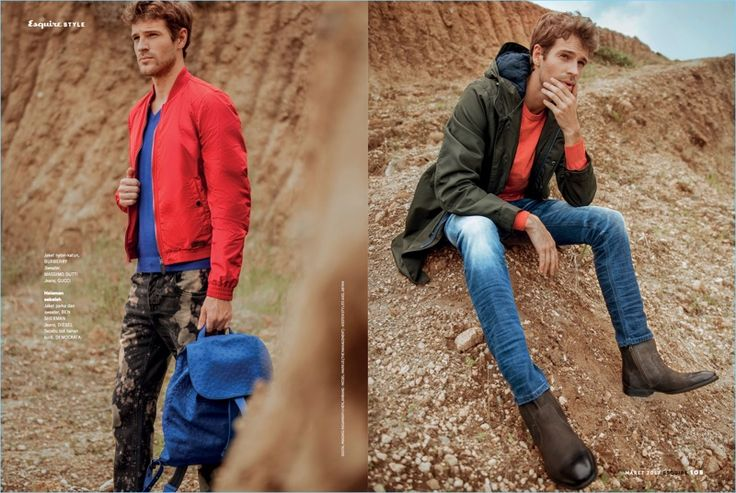 Left: Making a color statement, Markus Josefsson wears a red Burberry bomber jacket with a Massimo Dutti v-neck sweater, and Gucci jeans. Right: Markus sports a sweater and jacket by Ben Sherman. He also wears Diesel jeans and Democrata boots.