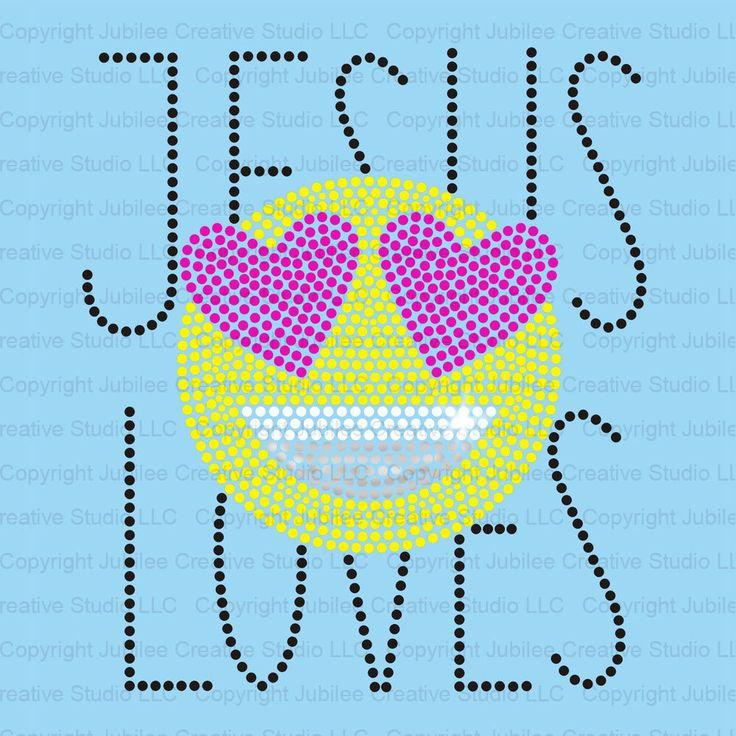 Jesus Loves Heart Emoji Iron-on Transfer