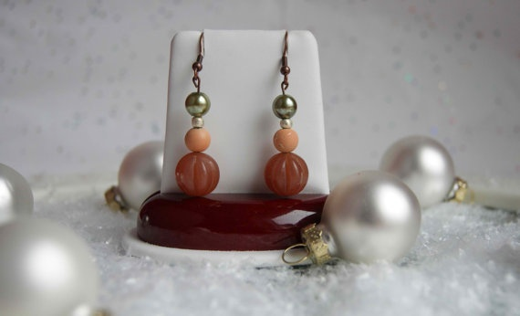 Hand Made One of A Kind Designer Desert Sun Tan Bead Earring by Urban Mermaid $10.00