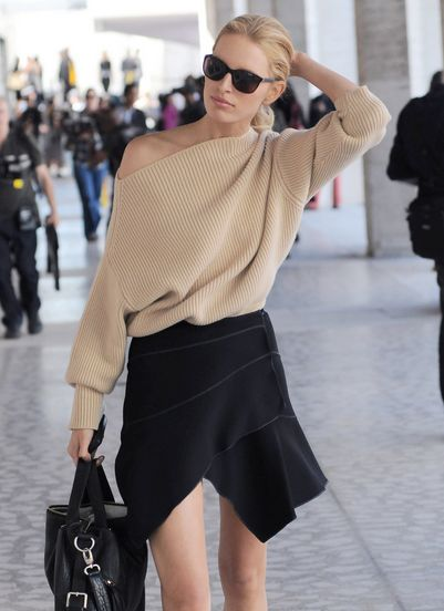 I've always hesitated to put a chunky sweater together with a sleek skirt, but here that totally works.