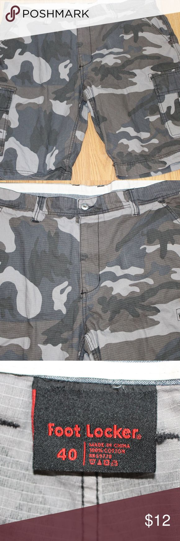 Foot Locker Men's Camo Shorts Sz 40 Foot Locker Men's Camo Shorts.  Size 40 Waist.  Excellent condition.  NOTE: All button down shirts, polo shirts, and T Shirts go into a two bag sealed POLYMAILER (ACCEPTABLE PER POSHMARK POLICY). Generally 2XL and under.  This will include these shorts. Foot Locker Shorts Cargo