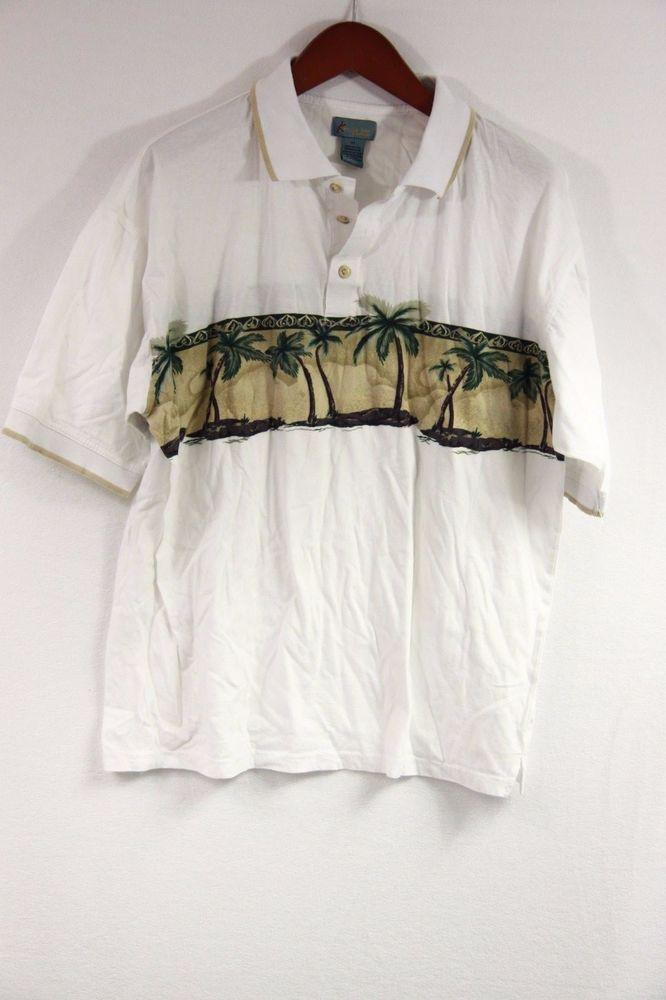 Kahlua Bay Mens Polo Shirt Casual XL Hawaiian Print Palm Cotton White Resort  #KahluaBay #PoloRugby