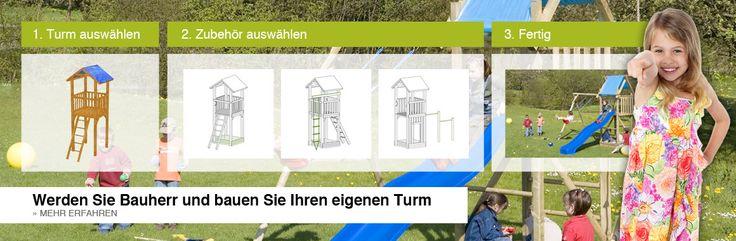 Spieltürme mit Rutsche und Holzschaukel online bei www.dein-gartentraum.de bestellen
