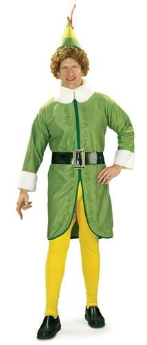 The full sized Elf who wasn't really…you can be Buddy in this costume. This quality costume includes a green fleece jacket featuring gold decorative accents, white faux fur trim, and a black belt with