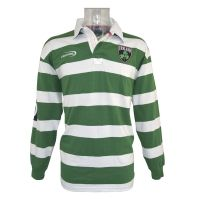Irish Rugby Shirt - Green and White Striped Ireland Rugby Shirt. Always one of the most popular, this Irish Rugby Shirt is in the classic green and white stripes with embroidered design. Sizes S, M, L, XL, 2XL.