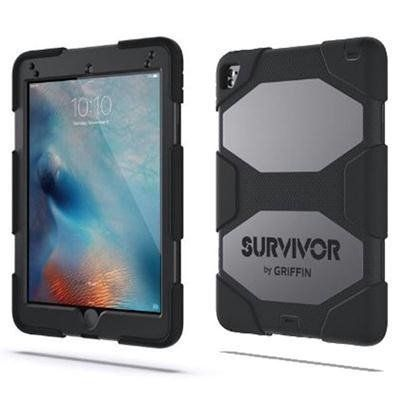 "Griffin Survivor All-Terrain Case Apple iPad Pro 9.7"" and iPad Air 2 - Black. Designed from the inside out to protect your iPad Pro  from extreme conditions. Survivor All-Terrain will keep out dust, sand and rain. Rugged, shock-absorbing silicone. A built-in screen protector snaps on to seal your touchscreen.  The screen shield is totally compatible with your iPad's TouchID sensor. And, to make it easy to use handsfree, a clip-on workstand is included. Shipped within Canada."
