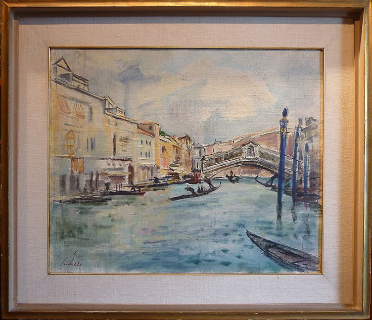 "Venice Rialto - Fioravante Seibezzi - 1950 - 55cm x 44cm - 21.6"" x 17.3"" - on sale by Antiques Missaglia - Italy http://www.antichitamissaglia.it/galleria/quadri/q47%20-%20venezia%20fioravante%20seibezzi.html"