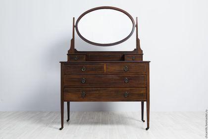 46000=, Мебель ручной работы. Ярмарка Мастеров - ручная работа. Купить Старинный туалетный столик из красного дерева.. Handmade. Коричневый, старинный