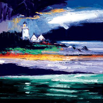 John Lowrie Morrison- Wet Evening Ornsay Light- whitewallgalleries