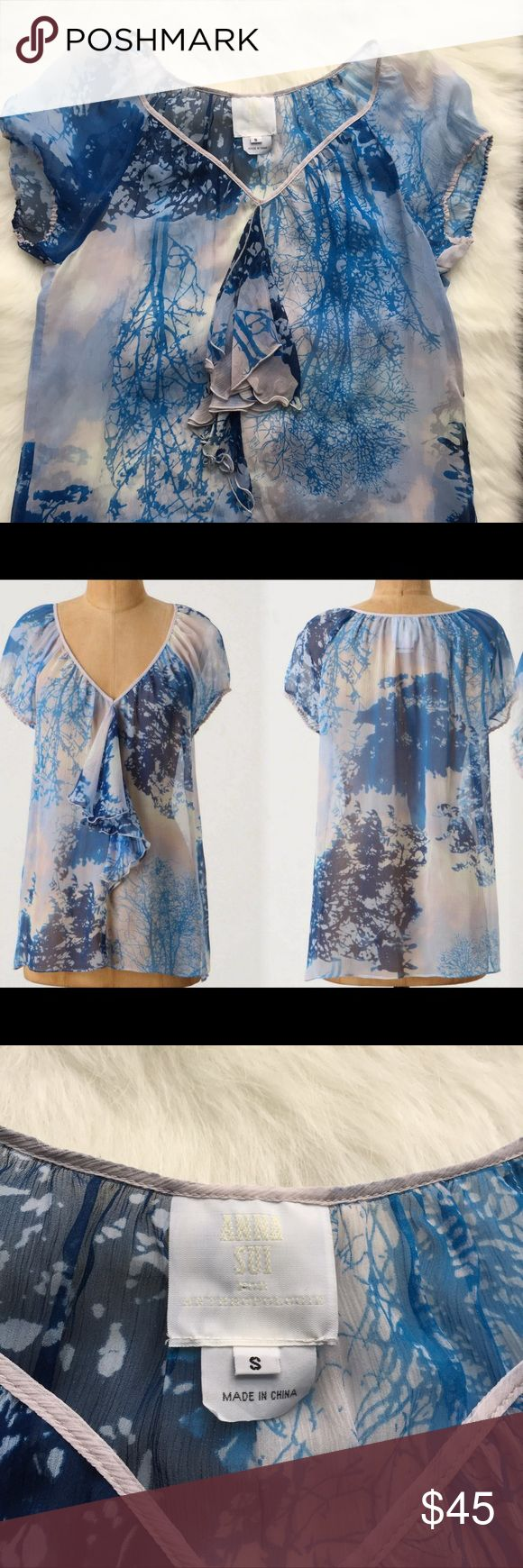 "Anna Sui For Anthropology Starring at the Sky Top Anna Sui For Anthropology Starring at the Sky Top. 100% Silk. Size S. In excellent condition.  27"" Long, 16"" Bust. Anna Sui Tops"