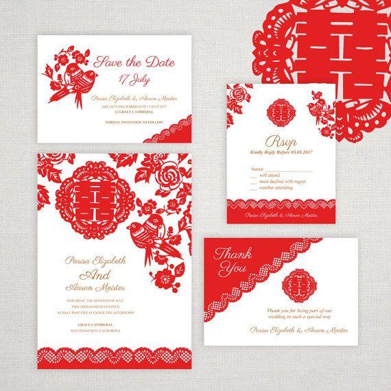 best 10+ chinese wedding invitation ideas on pinterest   chinese, Wedding invitations