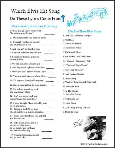 Printable Elvis Trivia Questions And Answers Activities Director