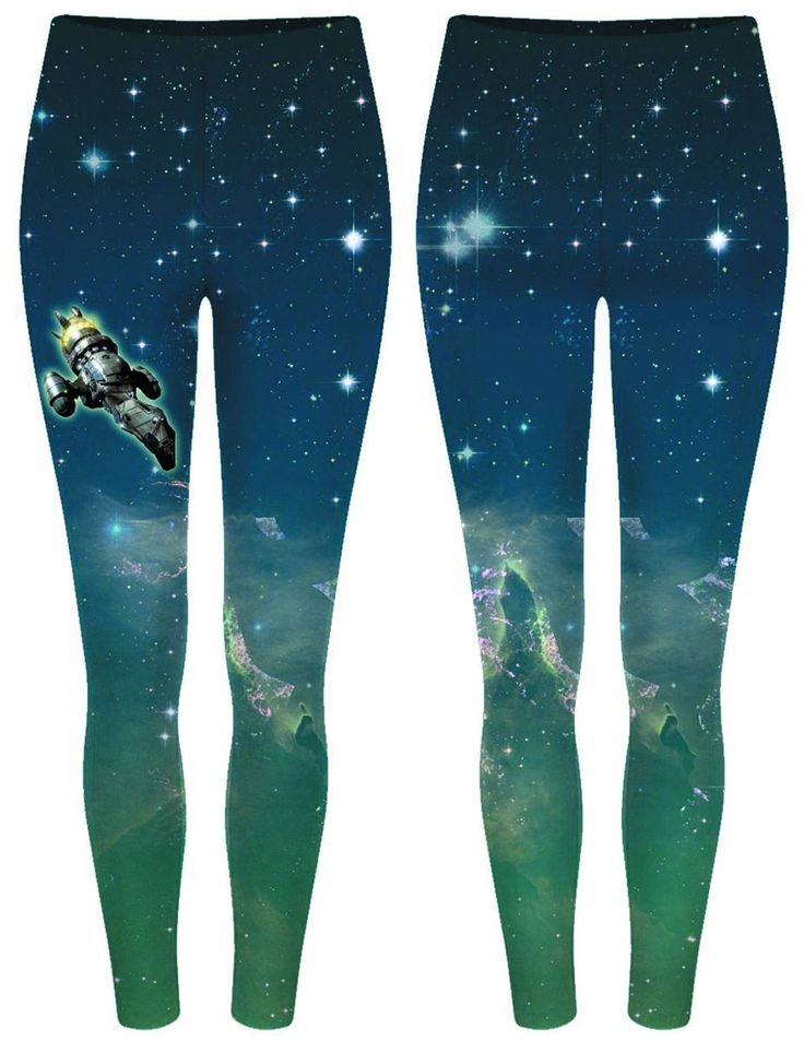 Geek cred and street fashion are a perfect match in the Firefly Vortex Leggings. The beloved ship Serenity flies against a backdrop of stars and nebulas on these comfortable and just-flashy-enough women's leggings