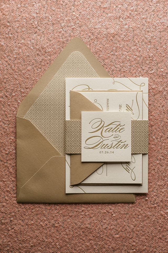 LAUREN Suite Art Deco Package, art deco wedding invitations, patterned wedding invitations, letterpress wedding invitations, calligraphy, champagne, ivory