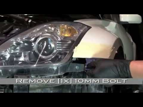 Spyder Auto Installation: 350Z LED DRL Headlights (HID Version) + Bumper Removal - YouTube