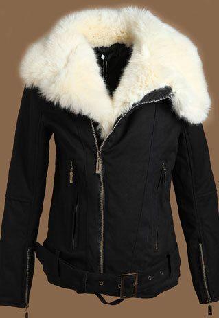 Cool Chic Black Warm Faux Fleece Lined Zip Women's Coat