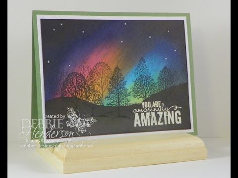 A great technique which uses bright, vivid ink colors to mimic Aurora Borealis or Northern Lights on your card! Come watch me sponge a masterpiece!