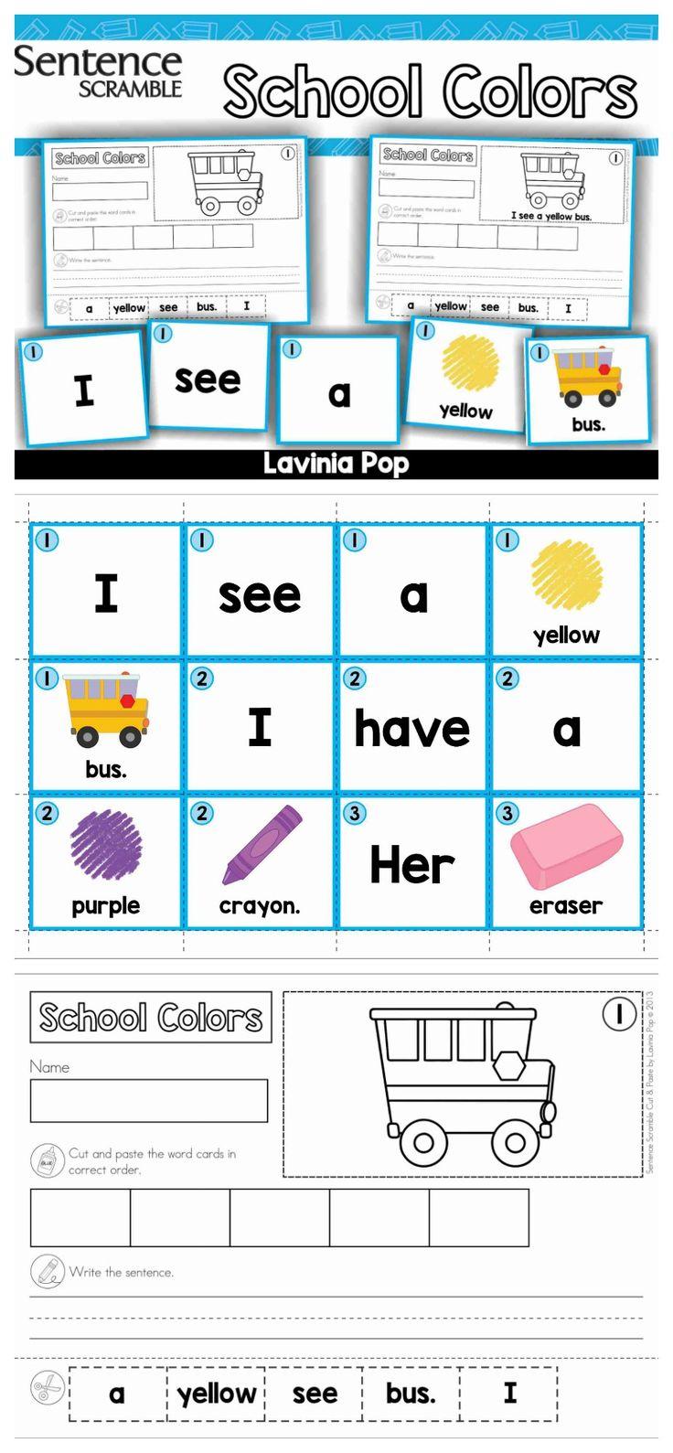 worksheet Sentence Scramble Worksheets 221 best sentence building images on pinterest scramble with cut and paste worksheets school colors