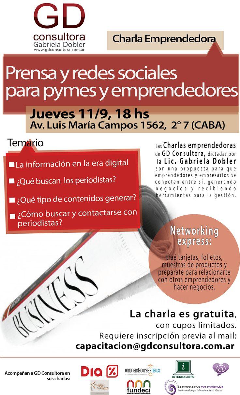Prensa y redes sociales para #pymes y #emprendedores. Charla emprendedora GRATUITA.