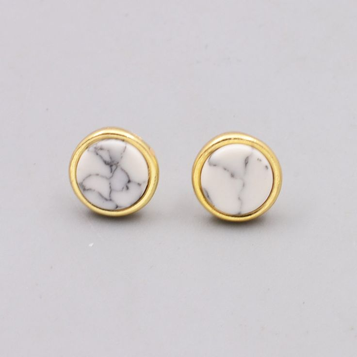 New fashion jewelry cute round white turquoise stone stud gift for women girl E3085