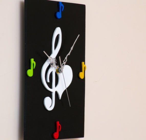 """OROLOGIO """"MUSICA"""" LEGNO nero"""