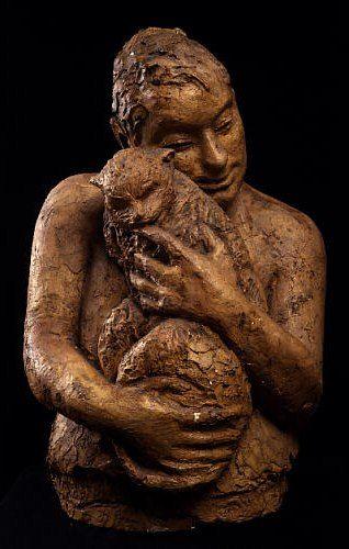 """""""Mafai col gatto (Mafai with cat)"""", 1942 - Bronze sculpture by Antonietta Raphaël (Italian, 1895 – 1975)"""
