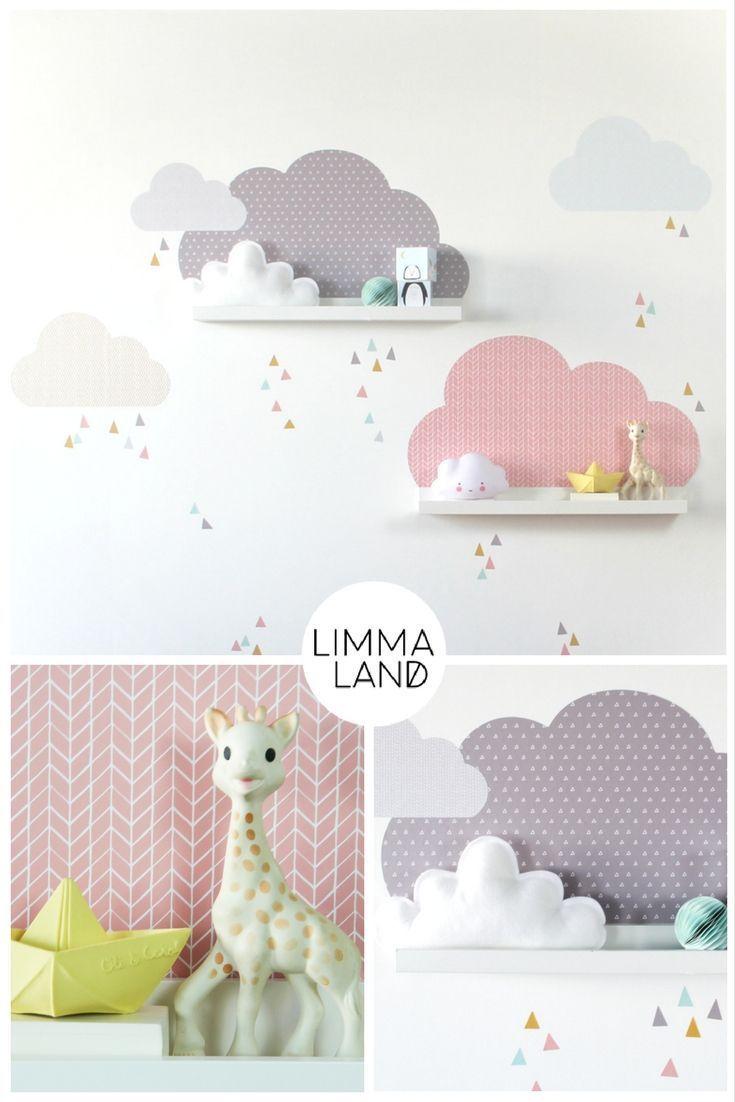 #ikea #ikeafurniture – ikeakartal.com – Wolken Kinderzimmer gestalten mit Wandtattoos passend für die IKEA Mosslanda (früher: RIBBA) Bilderleiste. F…