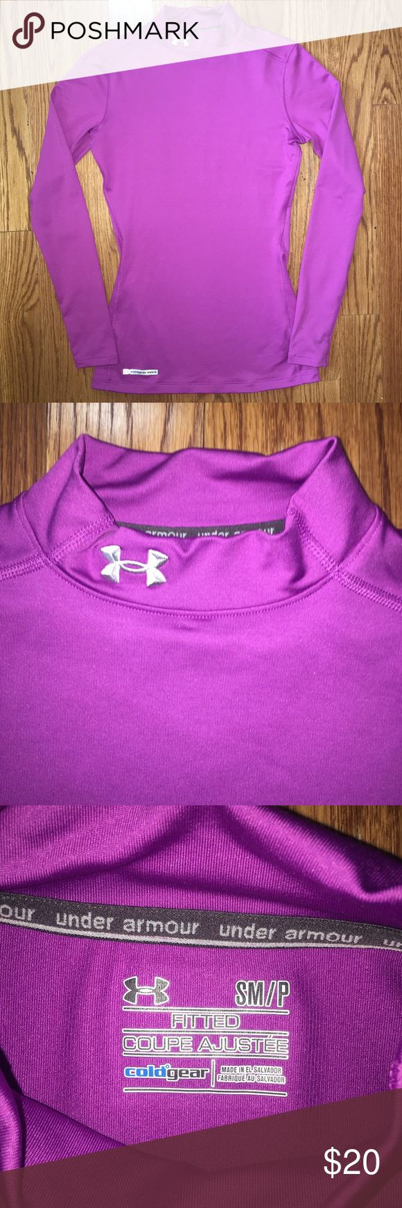 Under Armour Small Coldgear Mock Long Sleeve Top Women's Small Fitted Coldgear Mock Turtleneck long sleeve shirt in a gorgeous purple color! Good used condition - some light marks on the back and on one sleeve (last 2 pics) Nice thick material is great for the coming colder months! Under Armour Tops Tees - Long Sleeve