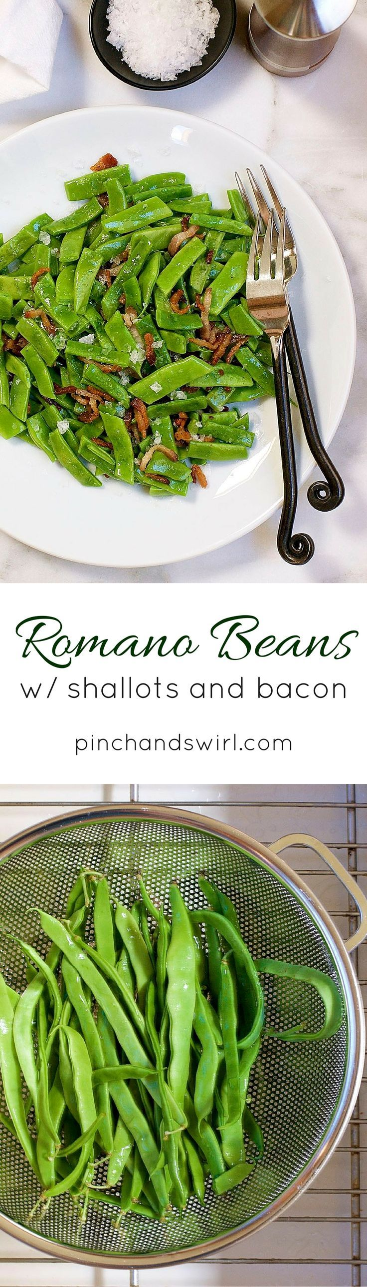 If you're looking for a simple and delicious Romano Bean recipe, this is it! Tender, flavorful Romano Beans get a quick blanch in boiling water and then are tossed with crispy shallots and bacon. It's the perfect summer side dish, ready in minutes.
