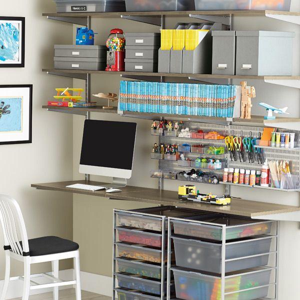 Driftwood & Platinum Desk - good layout for closet desk and shelves