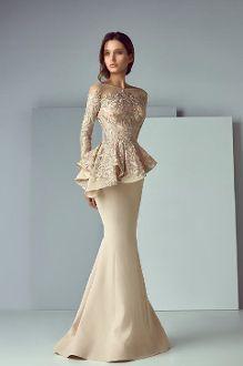 SK by Saiid Kobeisy Long Sleeve Peplum Trumpet Gown 3157
