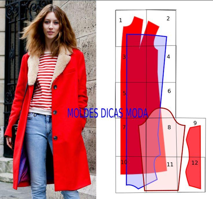 Para facilitar a vida aos jovens criadores hoje vou publicar um casaco vermelho com molde em pdf pronto a imprimir. Este modelo encontra-se no tamanho 38 modelo largo. Este molde já inclui margem de costura não necessita de ser acrescentado.