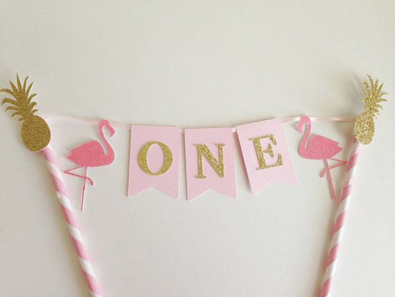 This listing is for a festive flamingo first birthday cake bunting. Perfect for your little ones lets flamingle party! This item can be