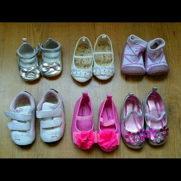Infant and toddler shoes for girls These are barely used.  Selling as a lot.  I have a set of pink Puma track suit that would go with the puma shoes.  Let me know if interested.  Size 18mos. Shoes