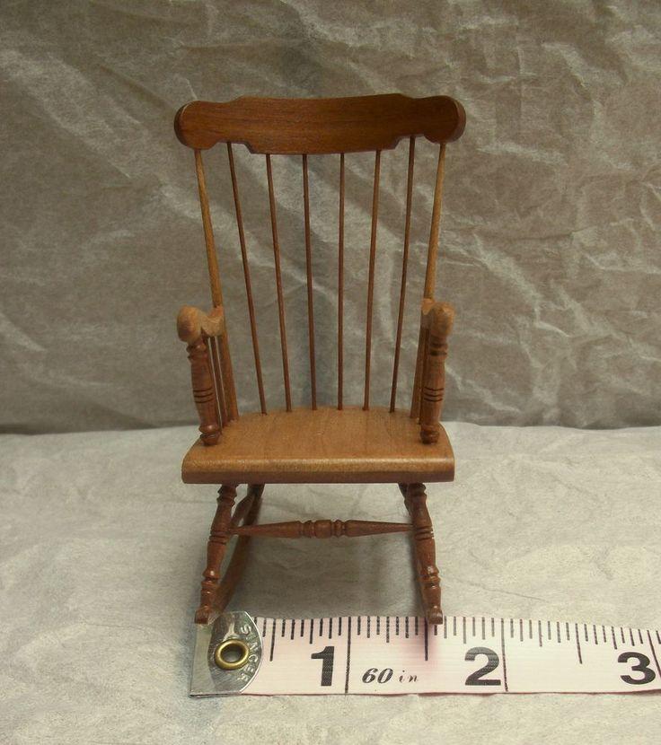 Vintage Artist Made Miniature Bill Clinger Rocking Chair Dollhouse