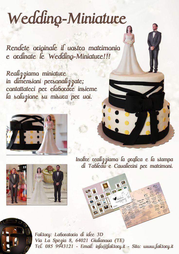 Ordinate le Wedding-Miniature, con i vostri volti, per un matrimonio unico!!! Il tutto è realizzato grazie alle nostre stampanti 3D... Per informazioni: info@faktory.it